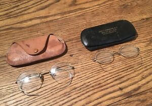 OLD USED VINTAGE ANTIQUE EYE GLASSES STYLE OCTAGON CLEAR GLASS GOLD FILLED RIM.