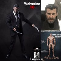 "1/6 Scale Wolverine Logan Black Suit Clothes Set Claws Head Fit 12"" Figure Body"