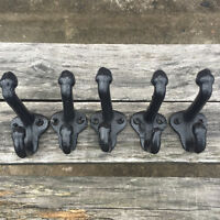"Lot 5 Cast Iron Wall Coat Hooks Hat Hook Hall Tree 2 3/4"" Vintage Style Black"