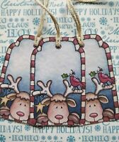 PACK OF 10 CUTE REINDEER  CHRISTMAS GIFT TAGS HAND MADE🎅
