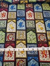 Harry Potter ~ Stained Glass Houses 100% cotton fabric ~ Sold by the 1/2 yard