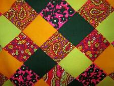 Vintage 60s Fabric Cotton Blend Patchwork Paisley Square Floral Chartreuse 46x74
