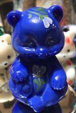 Fenton Glass Sitting Bear -Blue Slag Glass w/Beautiful Floral Design(A) M. Cade