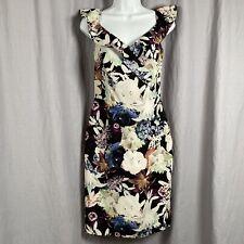 Saks Fifth Avenue Women's Floral V-neck Short Sleeve Dress Size 4