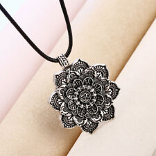 Lotus Flowers Mandala Om Aum Tantric Pendant Silver Plated Buddhist Necklace