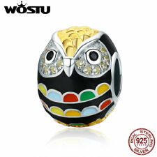 Wostu Cute Cartoon Owl Charms 925 Sterling Silver With Colorful Enamel For Girls