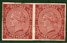 GB QV PROOF Stamp TENDER ESSAYS 1d Red Imper' Pair (1879) Perkins Bacon RED4