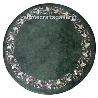 "24"" Green Marble Coffee Table Top Mother of Pearl Floral Inlay Home Decors B105"