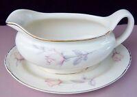 Vintage Homer Laughlin Pastel Rose Eggshell Nautilus Gravy Boat Matching Dish