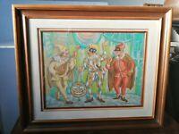 Remigio Lazzaro (Padova, 1904-1992) Maschere di Carnevale olio su tavola 40x30cm