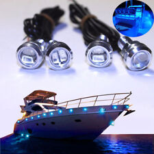 4x Blue LED Boat Light Silver Waterproof Outrigger Spreader Transom Underwater