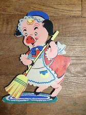 """Vtg 1951 Dolly Toy Co """"This Little Pig"""" Cleaning Mother Goose Nursey Pin-ups"""