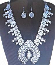 Western Squash Blossom Necklace Set White Stones