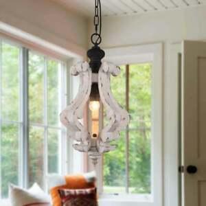 NEW~Cottage Rustic Wooden Chandelier Kitchen Island/Mini Hallway Pendant Light