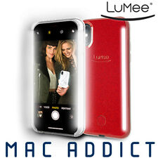 LuMee Duo Glitter selfie case with front and back lights, iPhone XS Max, Red