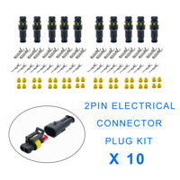 2Pin Way Plug Kit Car Waterproof Electrical Wire Cable Automotive Connector UK