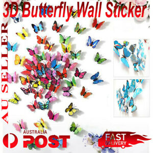 12 Pcs 3D Butterfly Wall Decal Removable Sticker Kids Nursery Decoration Magnet