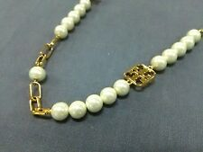 Auth TORY BURCH Gold Ivory Hardware Fake Pearl Necklace