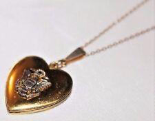 Antique Victorian Fine Gold Gilt Sterling Silver Crest Heart Locket Necklace NC6