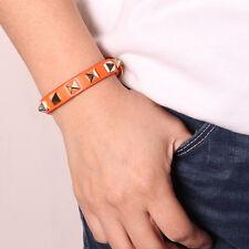 Rockstud Slake Wrap Bracelet Gold Plated Buckle Closure Bangle Orange