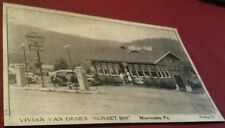 Huntingdon PA. Sunset Inn Diner Pennzoil Gas Station Pumps Rt. 22 Postcard Repo