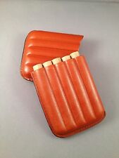 Tan Leather Cigar Case - HALF CORONA Size - 5 Finger