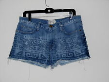 CURRENT / ELLIOTT BLEACH OUT TRIBAL PRINT THE BOYFRIEND CUT OFF JEANS SHORTS 29i
