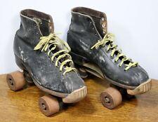 Vintage Hyde Leather Roller skates. Official Roller Derby Mens Sz. 8 Wood Wheels