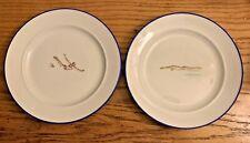 Vintage Richard Ginori Italy Deco Stylized (2) Dessert Plates Divers Gorgeous