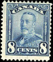 Mint H Canada 8c 1928 F Scott #154 King George V Scroll Stamp