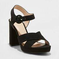 Women's Fiona Crossband Platform Ankle Strap Sandals - A New Day - Black
