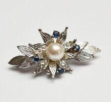 Hochfeine Brosche 18 Karat 750 Gold 5,73 g Weißgold Perle 4 Saphire Handarbeit