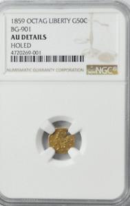 1859 Octagon Liberty 50c Half Dollar California Gold BG-901 NGC AU Details