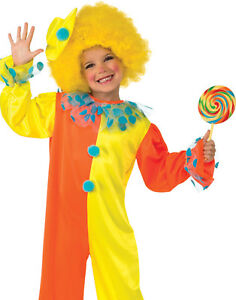 Party Clown Kids Jumpsuit Fun Toddler Halloween Fancy Dress Costume With Hat M