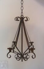 Vintage Hanging Wrought Iron Chandelier Ceiling Light  Primitive Candle Fixture