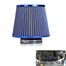 "Blue Mushroom Head Car Cold Air Intake Filter Cleaner 3""75mm Dual Funnel Adapter"