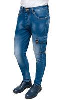 Jeans uomo Cargo Blu Denim slim fit casual aderente con tasche laterali