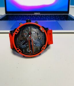 New Diesel DZ7370 Red Gunmetal Mr Daddy 2.0 57mm Case Chronograph Men's Watch