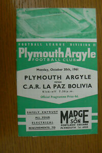 1961 PLYMOUTH V  C.A.R. LA PAZ PROGRAMME + LETTER TO ONE OF THE LINESMEN
