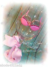 Bra Day Breast Cancer Save Ta-Tas No Bra Day Painted Wine Glass Gift Survivor