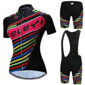 Women Cycling Jersey Set Summer Breathable Bicycle Clothes Quick Dry Sportswear