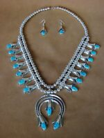 Navajo Indian Jewelry Turquoise Squash Blossom Necklace Set Louise Yazzie!