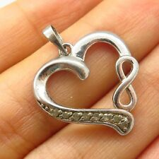 925 Sterling Silver Real Diamond Heart & Infinity Love Design Pendant