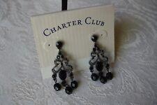 Charter Club Macys Black Beaded Beads Silver Chandelier Earrings