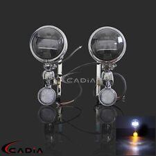 For Harley Touring Street Glide LED Spotlight Turn Signal Fog Bracket Light Lamp
