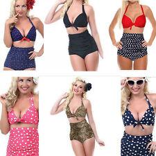 69dbb56c0b2 Sexy Vintage Retro Rockabilly Polka Dot High Waisted Bikini Women Swimsuit  Set