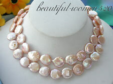 """z3520 30"""" 14MM PINK COIN FW CULTURED PEARL NECKLACE"""
