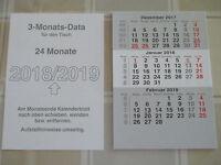 Kalender  -  3 Monats - Tischkalender 2018-2019  -  Ersatzblätter  -  NEU