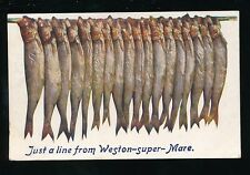 Somerset WESTON-SUPER-MARE Just a Line Fish Tuck Oilette #9373 PPC used 1908