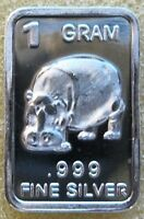 1 Gram .999 Fine Solid Silver Bullion Art-Bar - HIPPO